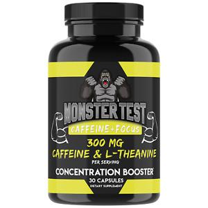 Monster Test Caffeine + L-Theanine Pills, Focus & Energy, Mental Clarity Caps