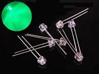 S375 - 50 Stück 5mm LEDs grün klar Kurzkopf straw hat Flachkopf green
