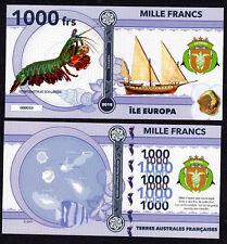 RARE ★ ILE EUROPA ● TAAF / COLONIE ● BILLET POLYMER 1000 FRANCS ★ N.SERIE 000010