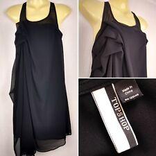 TOPSHOP Gorgeous Women's Black Ruffle Ruched Dress Sheer Collar UK 8 EU 36