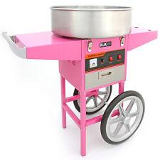 Máquina Algodón de Azúcar Transportable con Carrito Rosa Cumpleaños Fiestas 50cm
