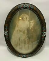 Antique Bubble Glass Photograph Picture Oval Frame Married Couple Tiger Wood VTG