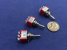3 Pieces Momentary Mini Toggle Switch (ON)-OFF-(ON) 6 pin 12vdc dpdt 1/4  A5