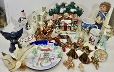 Large Lot of Christmas Decor Mugs Angels Ornaments Plate Resin Display Figurines