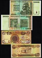 1 x 1000 Iraq Dinar Banknotes UNC + 1 x 20 Billion Zimbabwe Dollars AA 2008 Set