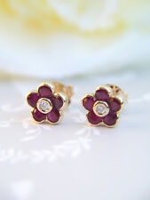 Stunning Vintage Inspired 14ct Rose Gold Ruby and Diamond Flower Stud Earrings