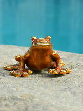 Frog with Stal Made of three tone Base metal and Crystals