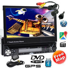 "Car Stereo Single 1DIN Flip-Out 7"" DVD VCD Player GPS/USB/Bluetooth Radio Camera"