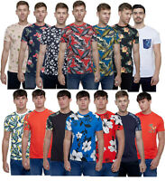 Mens Hawaiian Fashion Floral T- Shirt Short Sleeve Casual Cotton Summer S-XXL
