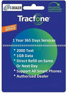 TracFone Service Extension 1 Year/365 Days + 2000 Text / 1GB Data, Smart Phones