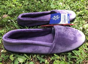 Dearfoams Women's Df Velour Closed Back Slipper, Smokey Purple, Size XL (11-12)