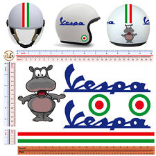 adesivi casco ippopotamo strisce italia vespa sticker helmet italian flag 6 pz.