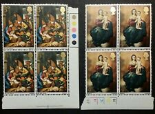 Great Britain 1967 Christmas Stamps Two Blocks of Four (Scott 522-23) Mnh