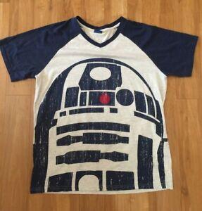 Star Wars Mens t shirt tee top XL cotton poly blend r2D2 lucas Films blue grey