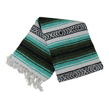 Mexican Falsa blanket in green and olive theme throw mat yoga rug new genuine