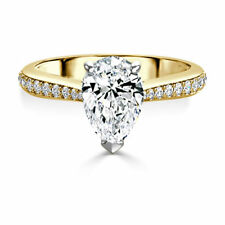2.40 Ct Pear Cut Solitaire Diamond Engagement Ring 14K Solid Yellow Gold Size M