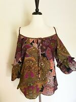 Voom by Joy Han Blouse Size M Cold-Shoulder Balloon Sleeve Paisley Jewel-tones