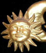 Set of 2 Gold SUN & MOON Celestial Sculpture Wall Hanging Home Plaque Sign