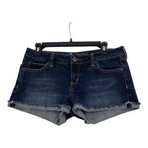 Bullhead Jean Shorts Roll Cuffed Dark Blue Cut Off  Stretch Womens 9