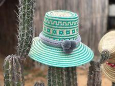 Artisan Wayuu Ethical Hand Woven Straw Hat Columbia Pom Pom Fair Trade Green