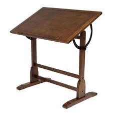 Vintage Drafting Table Rustic Oak Adjustable Drawing Base Architect Wood New
