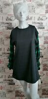MISSGUIDED BLACK GREEN CHECKED RUCHED SLEEVE MINI SWEATER DRESS SIZE 8 UK