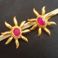 Beautiful 925 Sterling Silver Ruby Gold Plated Stud Earrings For GIFT