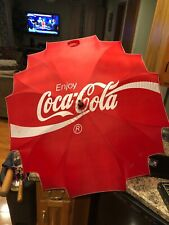 "Vintage ""Enjoy"" Coca Cola Large 40"" Wooden Handle Umbrella RARE HTF"