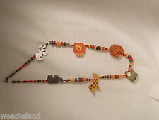 Colorful Wooden Noah's Ark Necklace Ethnic Tribal Jewelry handmade