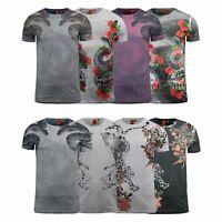 Mens T-Shirt Juice Animal Print Flower Crew Neck Summer Tee Top