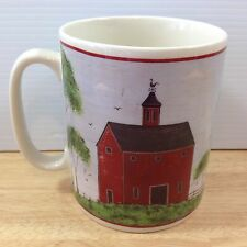 Warren Kimble BARNS Jumbo Mug 20 Oz Rooster Vane Red Barn Folk Art Sakura 1998