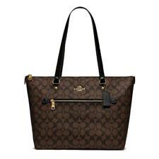 NWT COACH Tote Signature Canvas Logo Zip Shoulder Bag Classic Brown Gold F79609