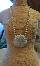 Lola rose chrysanthemum stone Necklace Carved Flower Pendant & Clasp BMWT