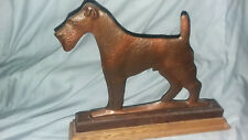 Airedale Terrier Mailbox Topper Dog Metal, mounted on wood for inside display