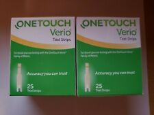 One Touch Verio Test Strips 50 count ( 2 boxes @ 25 each) Ep 03/22+,New + Sealed