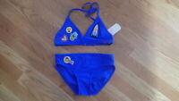 NEW Girl GB Girls Swimsuit Bathing Suit Bikini Blue Heart Size 12 large Cute $40