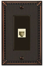 IMPERIAL BEAD ANTIQUE BRONZE PHONE JACK & HARDWARE SWITCHPLATE WALLPLATE