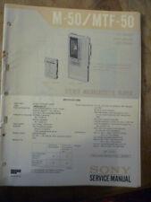 Sony M-50  MTF-50 Micro Cassette Player  Service Manual