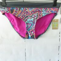 New $52 Title Nine Bikini Bottom XS X Small Gray Pink Paisley Swim Suit