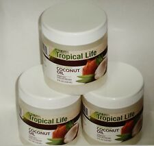 3 TROPICAL LIFE Extra Virgin COCONUT OIL Unrefined 4 fl oz (118ml) Each Sealed