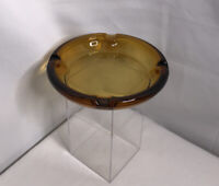 "Vintage Ashtray Amber Colored 8"" Glass Cigar Cigarette 4 Slots Tabletop Stand"