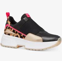 NIB size 9.5 Michael Kors Cosmo Trainer Sneakers Black Pink Cheetah Gold