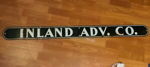 """Vintage Enameled """"INLAND ADV. CO."""" 48"""" x 4"""" SIGN (INLAND ADVENTURE CO.?)"""