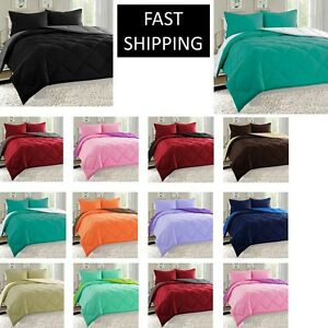 10 COLORS GOOSE DOWN ALTERNATIVE REVERSIBLE 3 PIECE COMFORTER SET