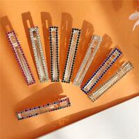 Geometric Rectangle Hairpins Rhinestone HairClips Metal Barrette Stick Hairgrip