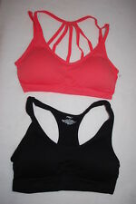 5d0c535729 Womens 2 LOT SEAMLESS SPORTS BRA Padded STRAPPY ORANGE Black Racerback 1X  14-16