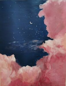 Original art work gouache painting sky and clouds