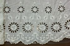 Antique Victorian Ecru Embroidered Broderie Anglaise Lace Trim Salvage Edging