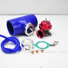 """RED TURBO CHARGED TYPE-RS BOV BLOW OFF VALVE +3"""" BLUE SILICONE COUPLER ADAPTER"""