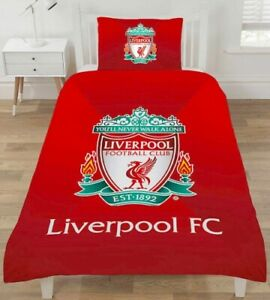 Official Liverpool FC Reversible Single Duvet Cover Bedding Set With Pillow Case
